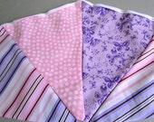 """Pink and Purple Double Sided Fabric Bunting, Party Banner, Pennant Garland, Butterfly & Stripe, Choice of Length 5 to 7 ft """"Sweet Butterfly"""""""