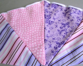 "Pink and Purple Double Sided Fabric Bunting, Party Banner, Pennant Garland, Butterfly & Stripe, Choice of Length 5 to 7 ft ""Sweet Butterfly"""