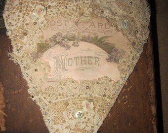 Mother Vintage Lace Heart Collage  Perfect for Mother's Day