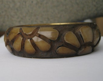 Wide Nice Carved Flowers on Brass or Brass Tone Bangle Bracelet