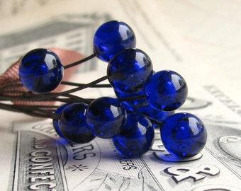 "Glass headpins ""Apothocary Bottle Blue"" 7mm round, handmade, Mykonos cobalt, 3"" long copper wire, 22 gauge 22ga, lampwork (4 head pins)"