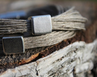 Urban Bracelet Silver Cube Modern Jewelry Geometric Eco Friendly Gift For Her Linen Gray Simple Minimal Bracelet