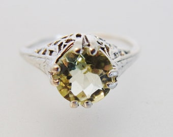 Pretty Vintage Deco Style Lemon Citrine Sterling Silver Filigree Ring