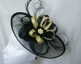 Black Sinamay Saucer Curl Feather and Pale Lemon Yellow & Pearl Cecily Fascinator Hat - Made to Order