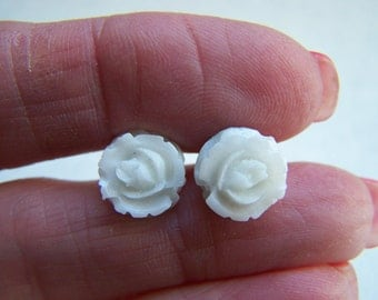White Rose Resin Post Earrings Doodaba
