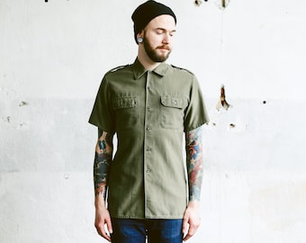Vintage Men's Khaki MILITARY Shirt . 1980s German Army 80's Green Short Sleeve Cotton Button Down Shirt Steampunk. size Extra Large