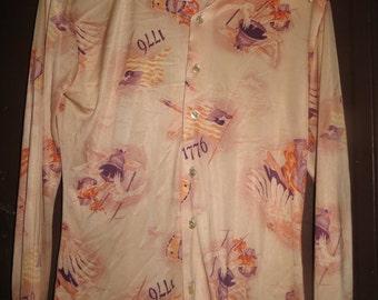 "Mod Hippie Party Shirt   Vintage 1960""s Gama Creations mens Medium  1776 liberty   themed  disco  shirt"