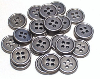 Aged Pewter Silver Color Metal Buttons Small Sewing Buttons 10mm Set 24 with holes