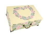 Hand Painted Jewelry Box - Blush Pink Roses, Succulents, Wildflowers, Personalized Heart Shaped Design - Custom Keepsake Box Memories Box