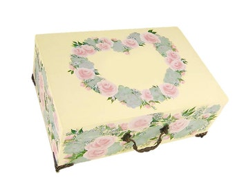 Hand Painted Large Memories Box - Blush Pink Roses, Succulents, Wildflowers, Personalized Heart Shaped Design - Custom Keepsake Box