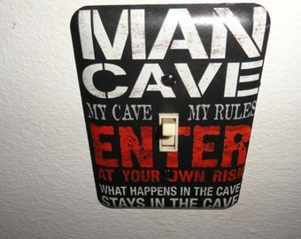 Father's Day Man Cave Single Light Switch Plate.
