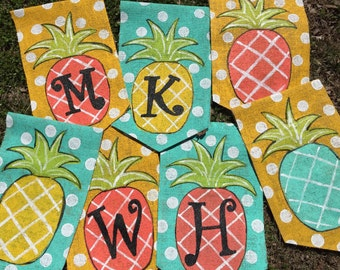 Pineapple Burlap Yard Garden Flag Yellow Background with Initial or Welcome Choose your Pineapple Color