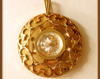 Vintage Watch Pendant, Andre Bouchard, 17 Jewels, Works, 1960's 1970's