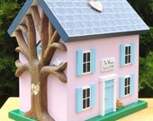 Wedding Card Box Birdhouse with Heart Carved Tree, and Painted Rustic Shingles