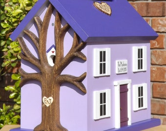 Wedding Card Money Box Birdhouse with Heart Carved Tree