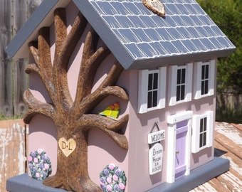 Small Wedding Card Box House with Heart Carved Tree