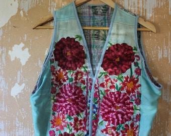 vintage.  70s Hippie Huipil Jacket  Vest Handmade  // Vintage Worn S to M