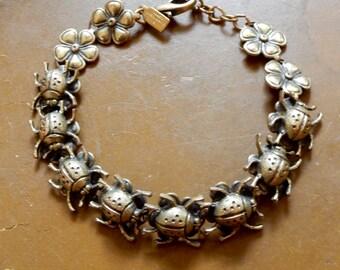 Mary De Marco Bug Bracelet Bronze Tone Beetles Floral Links Perfect Love Token Gift For A Gardener