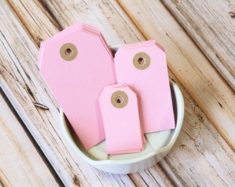 pastel PINK Reinforced Luggage Tags