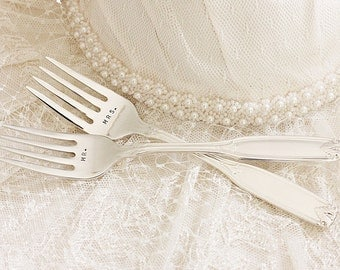 Mr. Mrs. Fork Set Personalized Wedding Forks with Date - Custom Made to Order