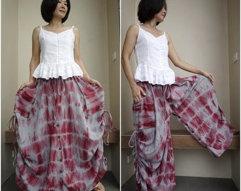 Love Me..Love Me Not ...Steampunk Tie Dye Dusty Red And Blueish Grey Cotton Skirt Or Pants With Side Adjustable String And 2 Roomy Pockets