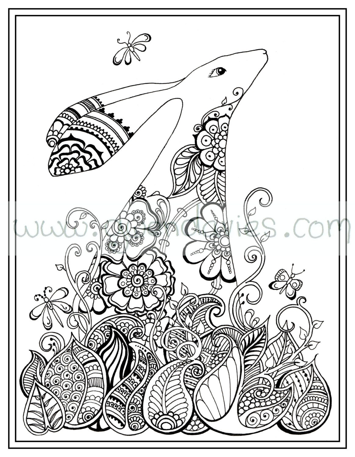 Mandala Market Gardens The Layout: Easter Activity, Colouring In PDF Download Hare Rabbit