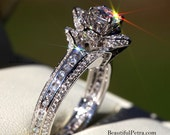 UNIQUE Flower Rose Diamond Engagement or Right Hand Ring - 2.25 carat - 14K white gold - wedding - brides - fL01