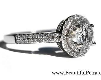 PLATINUM 1.00 carat Round - Double Halo - Pave - Antique Style - Diamond Engagement Ring - Weddings- Luxury - Bp019