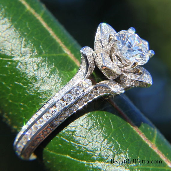 UNIQUE Flower Rose Diamond Engagement or Right Hand Ring - 2.20 carat - 14K  white gold