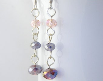 Long Purple Crystal Dangle Earrings