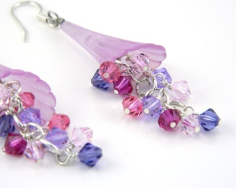Lilac Trumpet Flower Dangle Earrings on Surgical Steel Ear Wires