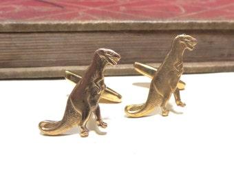 Raw Brass Dinosaur Cuff Links - T-Rex t rex trex jurassic park Wedding Cufflinks Soldered Graduation Fathers Day Birthday Gift Men Man