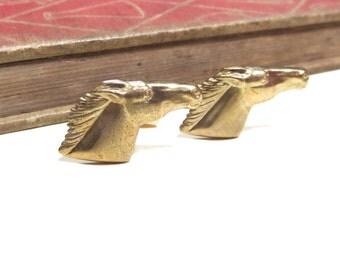 Raw Brass Horse Cuff Links - Wedding Cufflinks Soldered - Gold Equestrian Horse Head Equine
