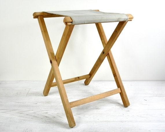 Vintage Camp Stool Folding Camping Stool Wooden Stool