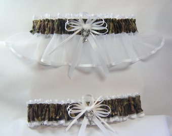 WHITE Tree Camouflage wedding garters DEER Camo garter