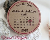 Custom magnets Wedding Favor Wood Magnets- 50 Custom Save the date custom made calendar magnet