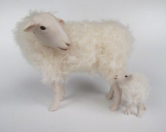 Handcrafted Porcelain and Mohair Dutch Sheep FIgures, Kempen Heath Ewe Looking Back at Lamb