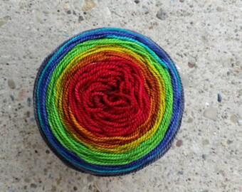 Hand-dyed Signature Rainbow Gradient Sock Yarn - Made To Order - SW Merino/Nylon/sock yarn - at least 400 yds. /100 g