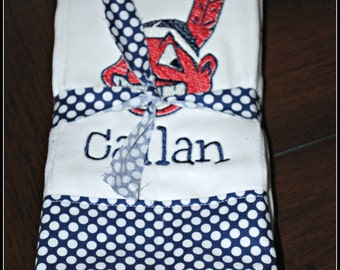 Embroidered Cleveland Indians Burp Cloth - Monogrammed and Personalized