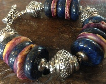 Spiny Oyster and Lapis With Sterling Silver Designer Chunky Big Bracelet