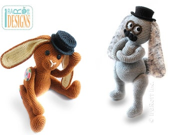 PATTERN Sam the Steampunk Bunny with Fedora Hat and Mustache Crochet PDF Pattern