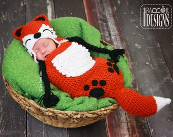 CROCHET PATTERN Roxy the Baby Red Fox Hat & Sleeping Bag Set Crochet Pattern in PDF