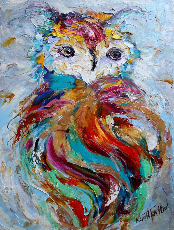 Original owl painting palette knife impressionism oil on for Oil art for sale