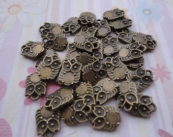 30pcs antique bronze plated owl findings 14x10mm