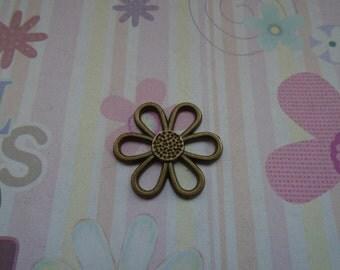 10pcs antique bronze flower findings 27mmx24mm