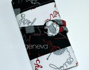 Sheep Mini Interchangeable Knitting or Crochet Hook Case Organizer with Sewn in Zipper Pocket