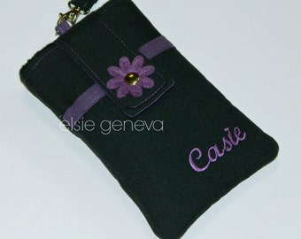 Water Repellent Solid Black Purple Phone Case with Wristlet iPhone 4 5 6 Plus Note Back Zipper Pocket Personalized Optional Shoulder Strap