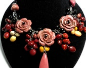 Rhodonite Roses and Mookaite Gemstone Bouquet Statement Necklace Bib Collar Necklace with Sterling