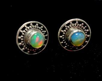 Opal Stud Earrings AAA Quality Fire Opal Round Stud Earrings in Solid Sterling Bali Style Mountings