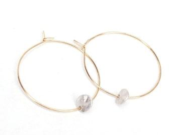 Hoop with Metal Round Earrings